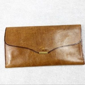 Vintage leather wallet in tan mirror & coin pouch